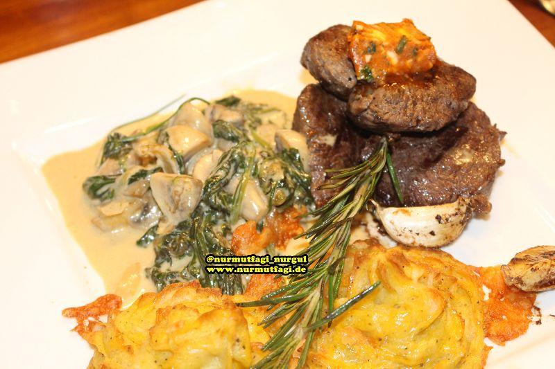 dana bonfile kremali ispanak yataginda, baharatli tereyagi, firinda patates püresi ile muhtesem bir menü (36)